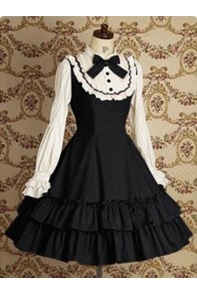Black & White Vintage Lace College Style Long Sleeves Sweet Lolita Dress