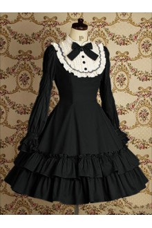 Black Vintage Lace College Style Long Sleeves Sweet Lolita Dress
