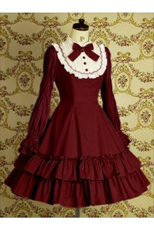 Wine Vintage Lace College Style Long Sleeves Sweet Lolita Dress