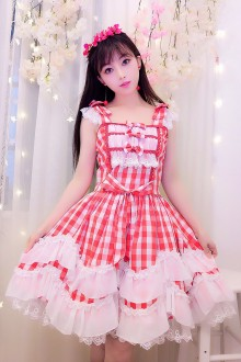 Pink & White Plaid Sleeveless Sweet Lolita Dress