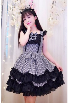 Black & White Plaid Sleeveless Sweet Lolita Dress