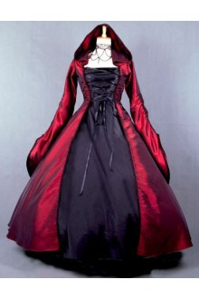 Wine Vintage Long Sleeves Cosplay Party Witch Dress Gothic Lolita Dress