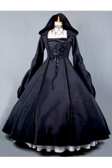 Black Vintage Long Sleeves Cosplay Party Witch Dress Gothic Lolita Dress