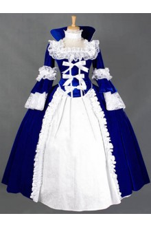 Blue Vintage Long Sleeves Cosplay Party Witch Dress Gothic Lolita Dress