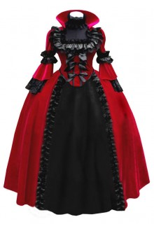 Red Vintage Long Sleeves Cosplay Party Witch Dress Gothic Lolita Dress