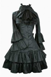 Black Vintage College Style Long Trumpet Sleeves Gothic Lolita Dress