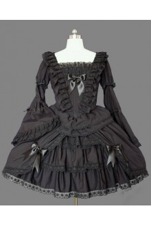 Black Gorgeous Palace Big Trumpet Sleeves Flouncing Lace Gothic Lolita Dress
