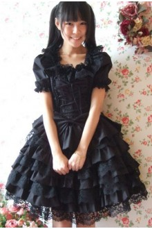Dark Demon Lace Fluffy Gothic Lolita Dress