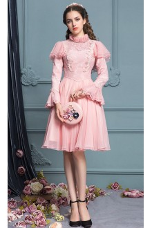 Pink Elegant Lace Trumpet Sleeves High Waist Princess Sweet Lolita Dress
