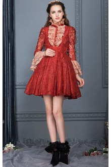 Red Vintage Lace High Collar Trumpet Sleeves High Waist Classic Lolita Dress