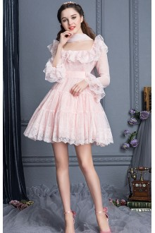 Lace High Waist Trumpet Sleeves Square Collar Sweet Lolita Cupcake Dress 4 Colors