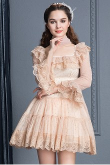 Apricot Lace High Waist Trumpet Sleeves Square Collar Sweet Lolita Cupcake Dress