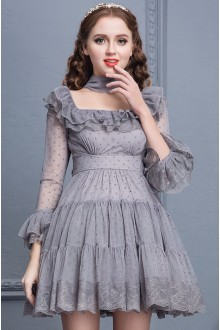 Gray Lace High Waist Trumpet Sleeves Square Collar Sweet Lolita Cupcake Dress