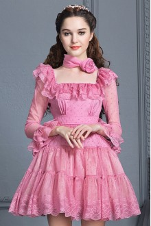 Rose Red Lace High Waist Trumpet Sleeves Square Collar Sweet Lolita Cupcake Dress