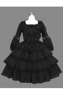 Black Lace Bowknot Princess Gothic Lolita Tiered Dress