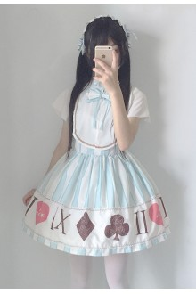 Sweet Chiffon Alice Printing Short Sleeves Lolita Dress