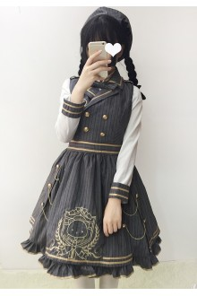 Gray Sweet Royal Academy Style Plaid Lolita Jumper Dress