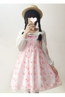 Pink Strawberry Cookies Printing Sweet Lolita JSK Dress