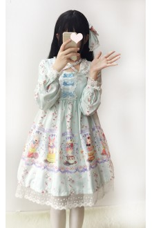 Green Dessert Rabbit Printing Long Sleeves Bowknot Sweet Lolita OP Dress