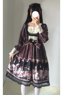 Black Lace Bowknot Printing Sweet Lolita OP Dress