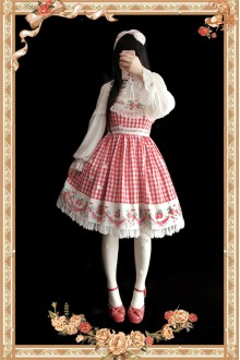 Infanta Garden Little Plaid Strawberry Printing Sweet Lolita JSK Dress 3 Colors