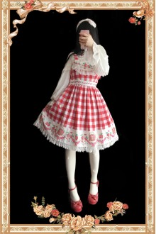 Infanta Garden Red Big Plaid Strawberry Printing Sweet Lolita JSK Dress
