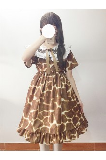 Giraffe Pattern Short Sleeves Doll Collar Sweet Lolita Dress