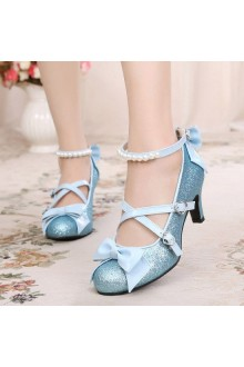 Sweet Stage Shiny Pieces Pearl High Heel Bowknot Lolita Shoes 5 Colors