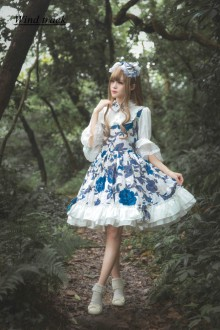 Blue Flower Language Melody Sweet Lolita JSK Dress