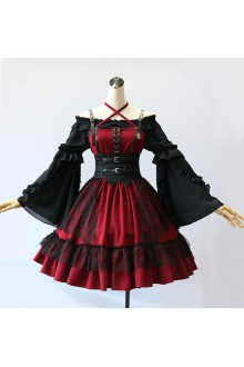MILU Halloween Dark Style Gothic Suspender JSK Dress (Limited Sale)