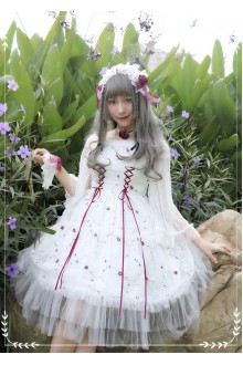 White MILU Original Red Rose Embroidered Sleeveless Sweet Lolita JSK Dress