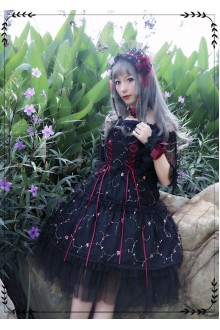 Black MILU Original Red Rose Embroidered Sleeveless Sweet Lolita JSK Dress