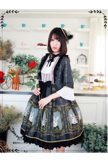 MILU Original Vintage Palace Earl Rabbit Printing Classic Lolita OP Dress