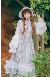 Neo Ludwig Vintage Long Sleeves Fake Two Pieces Double Collar Sweet Lolita Long Dress