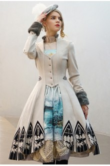 Neo Ludwig Vintage  Fake Two Pieces Slim Gothic Lolita Coat 4 Colors