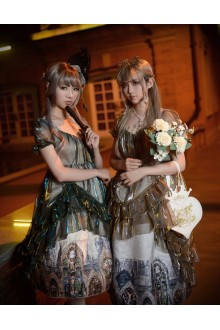 Neo Ludwig Borgia  Color Windows Golden Church Short Sleeves Sweet Lolita OP Dress