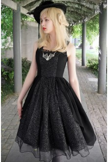 Neo Ludwig Chiffon Love Mood Black Vintage Flouncing Sleeveless Sweet Lolita Dress
