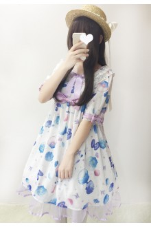 White Dream Shell Sweet Lolita OP Dress