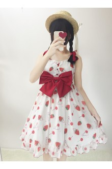 Sweet Cherry Strawberry Rabbit Bowknot Chiffon Lolita Jumper Dress