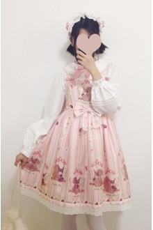 Pink Squirrel Story Squirrel Printing Sweet Lolita JSK Dress