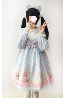 Light Blue Little Bear Plaid Lace Doll Collar Sweet Lolita Dress