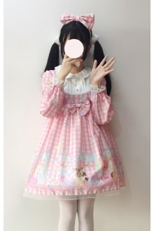 Pink Little Bear Plaid Lace Doll Collar Sweet Lolita Dress