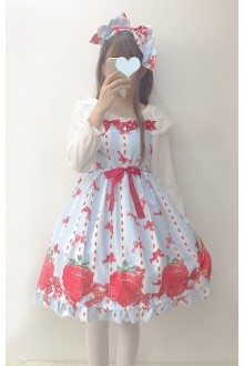 Lace Strawberry Printing Sweet Lolita JSK Dress