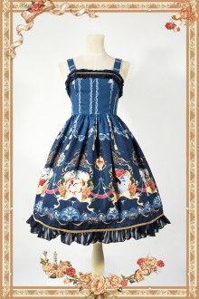 Dark Blue Infanta Mermaid Printing Sweet Lolita JSK Dress
