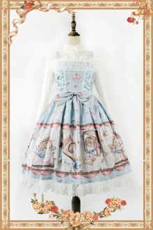 Sky Blue Infanta Alice Mysterious Book Sweet Lolita JSK Dress