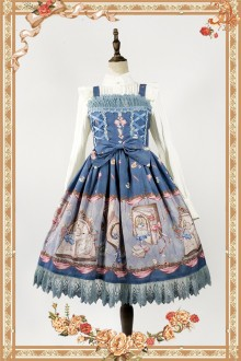 Dark Blue Infanta Alice Mysterious Book Sweet Lolita JSK Dress