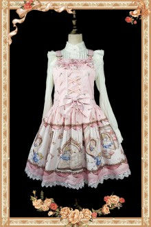 Light Pink Infanta Alice Mysterious Book Sweet Lolita Strap JSK Dress