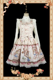 Apricot Infanta Alice Mysterious Book Sweet Lolita Strap JSK Dress