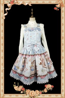 Sky Blue Infanta Alice Mysterious Book Sweet Lolita Strap JSK Dress