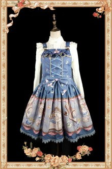 Dark Blue Infanta Alice Mysterious Book Sweet Lolita Strap JSK Dress